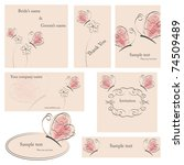 vector cards set  with flowers... | Shutterstock .eps vector #74509489