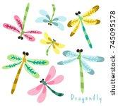 Stock vector vector set of adorable dragonflies 745095178