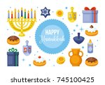 hanukkah banner design. menorah ...   Shutterstock .eps vector #745100425