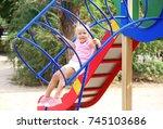adorable little girl on... | Shutterstock . vector #745103686