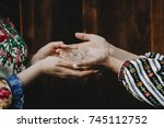 beautiful woman hand | Shutterstock . vector #745112752