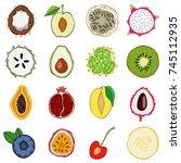 set of fresh hand drawn fruits...   Shutterstock . vector #745112935