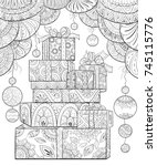adult coloring page book a set... | Shutterstock .eps vector #745115776