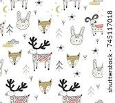 cute hand drawn nursery... | Shutterstock .eps vector #745117018