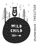wild child   cute hand drawn... | Shutterstock .eps vector #745117105
