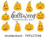 set of halloween pumpkins with...   Shutterstock .eps vector #745117246