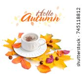 coffee cup on the autumn fall... | Shutterstock . vector #745118812