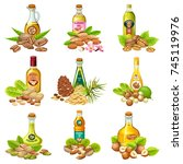 set bottles of nuts oils with... | Shutterstock .eps vector #745119976