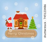 santa claus and christmas eve... | Shutterstock .eps vector #745123486