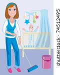 A young beautiful mother does the moist cleaning up in a nursery - stock photo
