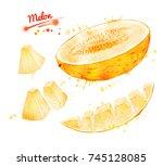 watercolor illustration of half ... | Shutterstock . vector #745128085