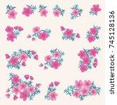 floral arrangements in small...   Shutterstock .eps vector #745128136