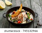 seafood and rice noodles in... | Shutterstock . vector #745132966