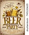 beer party poster design... | Shutterstock .eps vector #745133635