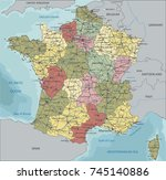detailed france political map. | Shutterstock .eps vector #745140886