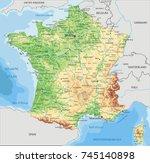 detailed france physical map. | Shutterstock .eps vector #745140898