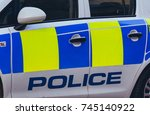 Small photo of Close up of Police Car, Left Side with Police Name and Colours, horizontal photography