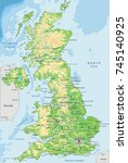 detailed uk physical map. | Shutterstock .eps vector #745140925