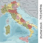detailed italy political map. | Shutterstock .eps vector #745140946