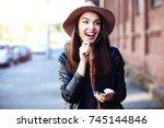 close up fashion woman portrait ... | Shutterstock . vector #745144846