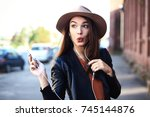 close up fashion woman portrait ... | Shutterstock . vector #745144876