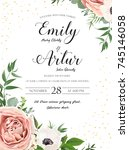 wedding floral invite... | Shutterstock .eps vector #745146058