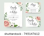 Stock vector wedding vector floral invite invitation thank you rsvp card watercolor design set garden flower 745147612