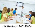 high school students learning... | Shutterstock . vector #745151056