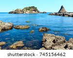 lachea island on cyclopean... | Shutterstock . vector #745156462