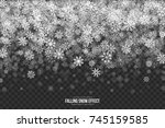 vector falling snow effect with ... | Shutterstock .eps vector #745159585