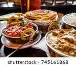 indian food or indian curry in... | Shutterstock . vector #745161868