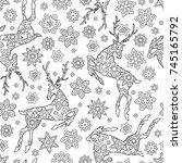 hand drawn outline festive... | Shutterstock .eps vector #745165792