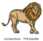 lion. tropical exotic animal... | Shutterstock .eps vector #745166686
