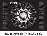 2018 new year calendar... | Shutterstock .eps vector #745168552