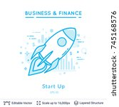 flying rocket symbol on white.... | Shutterstock .eps vector #745168576
