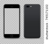 realistic black smartphone with ... | Shutterstock .eps vector #745171102