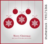 christmas ornament balls with... | Shutterstock .eps vector #745171366