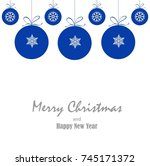 blue christmas ornament balls... | Shutterstock .eps vector #745171372