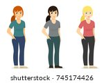 set   smiling cute white woman  ... | Shutterstock .eps vector #745174426