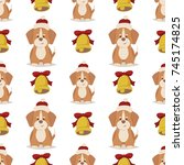 dog with red hat and gold bell. ... | Shutterstock .eps vector #745174825