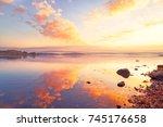 breathtaking sunrise seascape... | Shutterstock . vector #745176658