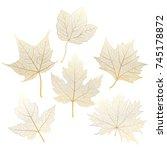 set gold  autumn leaves maple... | Shutterstock .eps vector #745178872