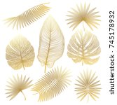 set tropical leaf isolated.... | Shutterstock .eps vector #745178932