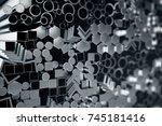 cylindrical metal steel... | Shutterstock . vector #745181416