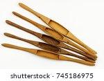 wooden weaving shuttle isolated ... | Shutterstock . vector #745186975