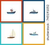 flat icon vessel set of... | Shutterstock .eps vector #745191052