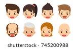 cartoon avatar set. cute men...   Shutterstock .eps vector #745200988