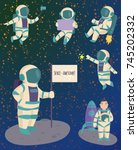 vector astronauts in space ... | Shutterstock .eps vector #745202332