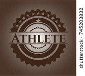 athlete wooden emblem. retro   Shutterstock .eps vector #745203832
