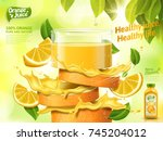 orange juice ads  glass of... | Shutterstock .eps vector #745204012